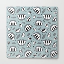 Piano smile pattern in grey Metal Print