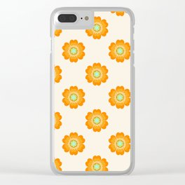 4 Sho - 70's retro 1970's throwback pattern floral flower motif decor hipster Clear iPhone Case