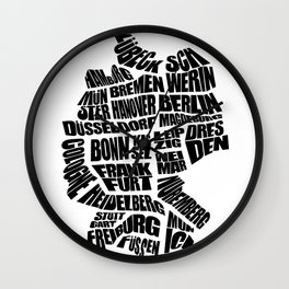 Germany Word Map - Black and White Wall Clock