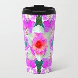 TEAL PINK SPRING LILY FLOWERS PURPLE GARDEN PATTERNS Travel Mug