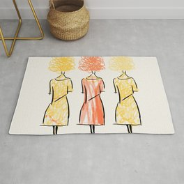 Girls on the Street Drawing Rug