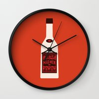 mad men Wall Clocks featuring Bottle Mad Men by Marco Recuero