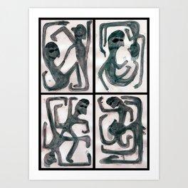 Quadriptyque de l'inconscient personnage. / Quadriptyque of the unconscious character. Art Print