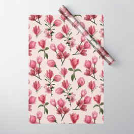 Pink Magnolia Blossoms Wrapping Paper