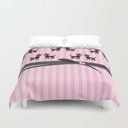 Poodles And Pink Hearts Duvet Cover