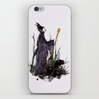maleficent iPhone & iPod Skins featuring Maleficent by Louise Hubbard