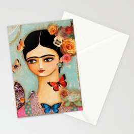 Frida Collage with Butterfly and Rose Stationery Cards