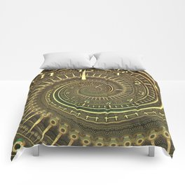 Bronze Metallic Ornate Spiral Time Machine Comforters