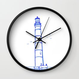 Lighthouse Watercolor Line Drawing Wall Clock
