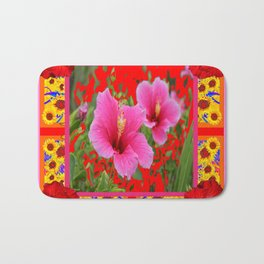 TROPICAL RED-PINK HIBISCUS FLOWERS PATTERNS Bath Mat