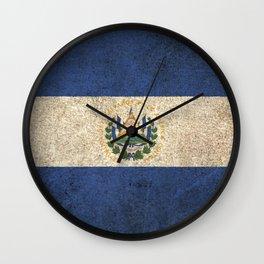 Old and Worn Distressed Vintage Flag of El Salvador Wall Clock
