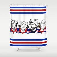power rangers Shower Curtains featuring Rangers by Kana Aiysoublood