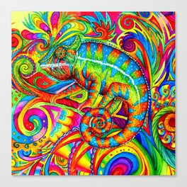 Psychedelizard Colorful Psychedelic Chameleon Rainbow Lizard Canvas Print