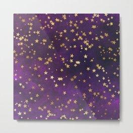 Dark Purple Gold Stars Metal Print