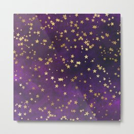 Dark Purple Gold Stars Metal Print