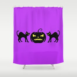 Black Cats Funny Scary Jack-O-Lantern Shower Curtain