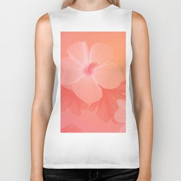 Dreamy Coral Hibiscus Flower Print Biker Tank