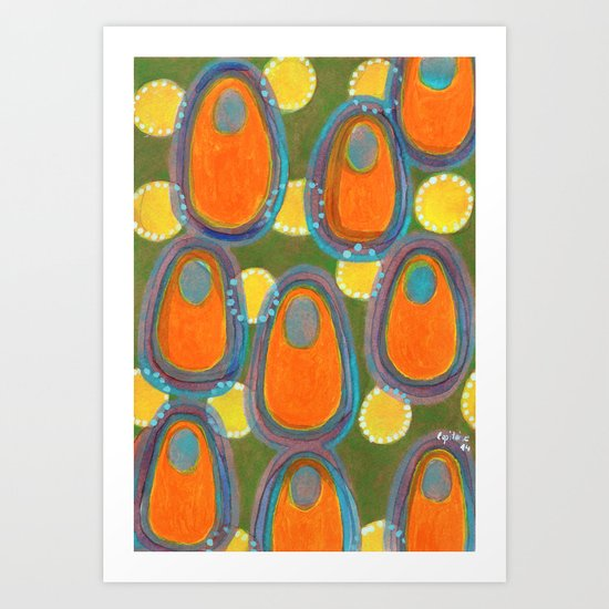 Red Eggs with Blue Fillings Art Print