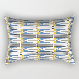 Geometric Stripes Seamless Vector Pattern Yellow and Blue Rectangular Pillow