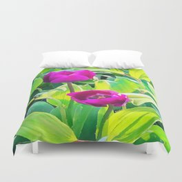 Two Tulips Rising Duvet Cover