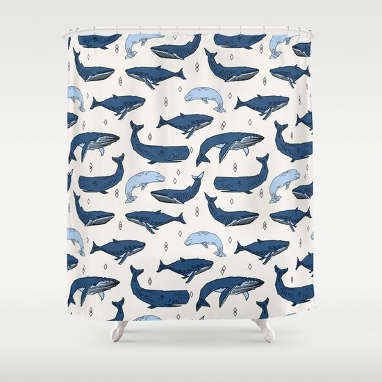 Whales by Andrea Lauren Shower Curtain