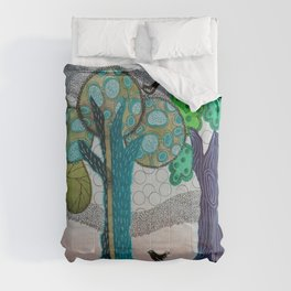 Blue trees Comforters