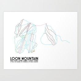 Loon Mountain, NH - Minimalist Trail Art Art Print