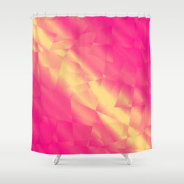 Glowing metallic pink fragments of yellow crystals on irregularly shaped triangles. Shower Curtain