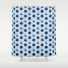 Blue Cubes Shower Curtain