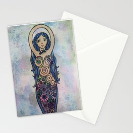 Floral spiral goddess painting Stationery Cards