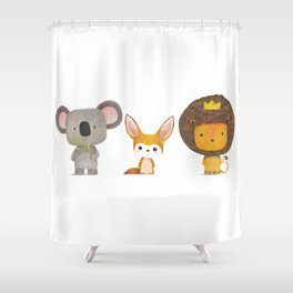 Koala, Fennec & Mr.Lion Shower Curtain