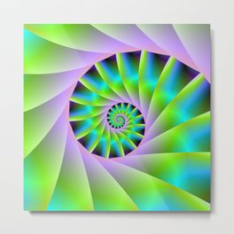 Turquoise Lilac and Green Spiral Metal Print