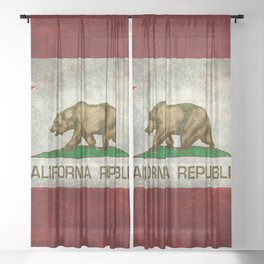 California Republic state flag Vintage Sheer Curtain
