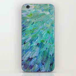 SEA SCALES - Beautiful Ocean Theme Peacock Feathers Mermaid Fins Waves Blue Teal Color Abstract iPhone Skin