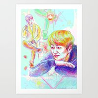 shinee Art Prints featuring SHINee Onew by sophillustration
