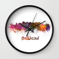 oakland Wall Clocks featuring Oakland skyline in watercolor by Paulrommer