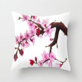 Cerezo en flor Throw Pillow