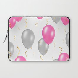 Happy party pattern, with pink, silver balloons, gold confetti. Laptop Sleeve