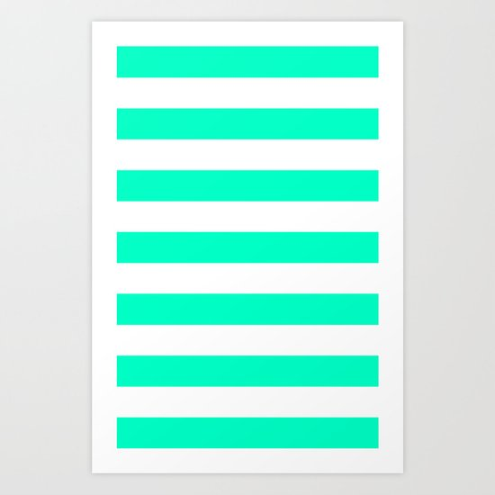 Mint White Stripes Art Print