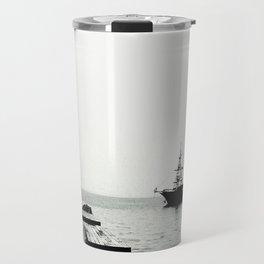 ships on a calm sea black and white Travel Mug
