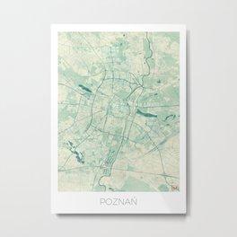 Poznan Map Blue Vintage Metal Print