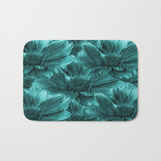Turquoise Floral Abstract Bath Mat