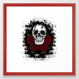 Skull and Rose Framed Art Print