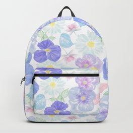 Seamless floral pattern with viola and daisy. Endless texture Backpack