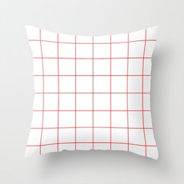 Graph Paper (Red & White Pattern) Throw Pillow