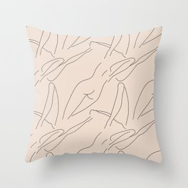 female body figure abstract minimal modern one line art sketch Throw Pillow