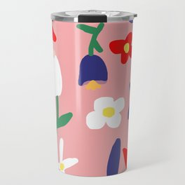 Large Handdrawn Bacchanal Floral Pop Art Print Travel Mug