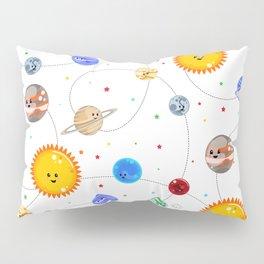 Kawaii Solar System Pattern Pillow Sham
