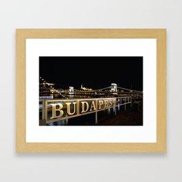 Széchenyi Chain bridge over Danube river, Budapest, Hungary. Framed Art Print