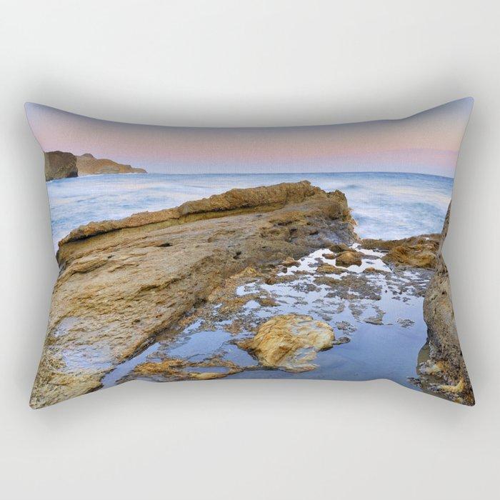 """""""Volcanic sea at pink sunset"""" Rectangular Pillow"""